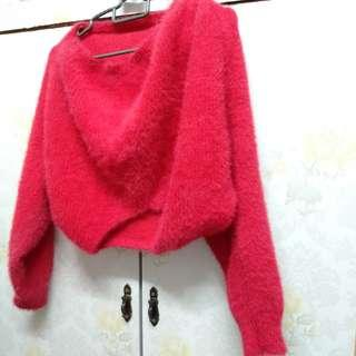 [free post sm] Fur Style Crop Top Red