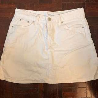 White Denim Mini Skirt Size S #FEBP55