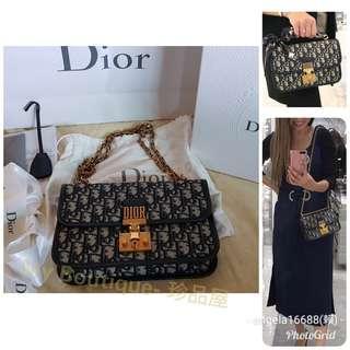 【My Boutique-珍品屋】全配真品附台灣購證正本 Dior oblique addict包24公分~超經典款+最夯藍色老花~超搶手~可四用~馬鞍包可參考