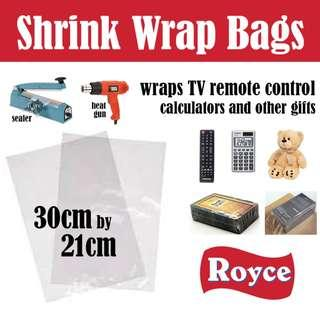 Heat Shrink Bag - shrinkable plastic large 30cmx21cm wrap presents remote control notebook and other small items