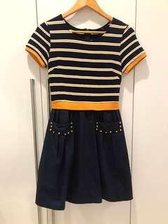 Navy Yellow Stripe Dress