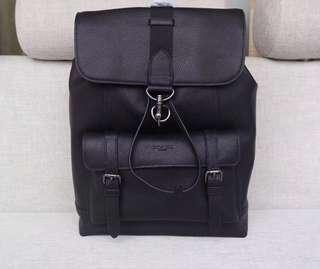 🚚 COACH MENS Black Leather Backpack F29523