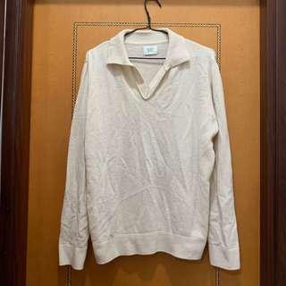 $50 韓國全新米白色反領冷衫