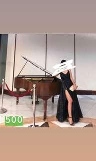 FOR RENT black ball gown with slit