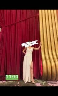 FOR RENT white long gown with slit