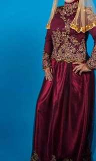 Maroon Muslimah Wedding Dress