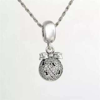 Code SS859 - Christmas Ornament Bauble Ball 100% 925 Sterling Silver Charm, Chain Is Not Included, Compatible With Pandora