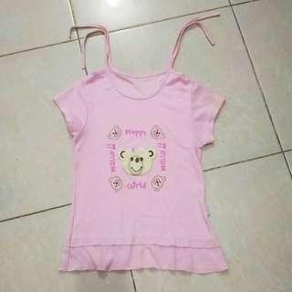 Baju Kaus Kaos Atasan Anak Perempuan Pink Beruang Bear Katun Bekas Second Preloved Murah