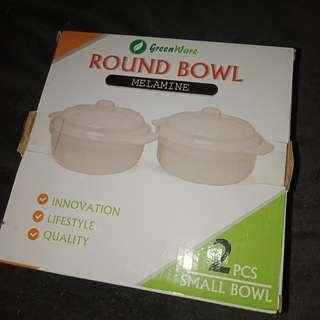 Round bown with cover (melamine) 2pcs
