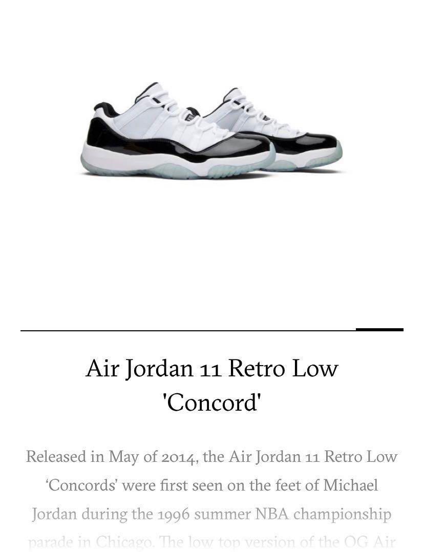 Air Jordan 11 Retro Low Concord, Men's