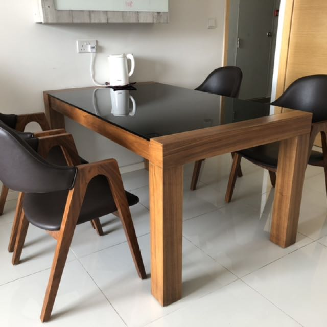 American Oak Wood Dining Table With 4 Arm Chairs Furniture Tables