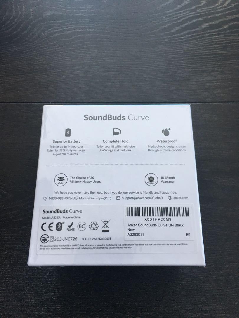 Anker Soundbuds curve wireless earbuds - Bluetooth earphones, waterproof, 14 hours battery