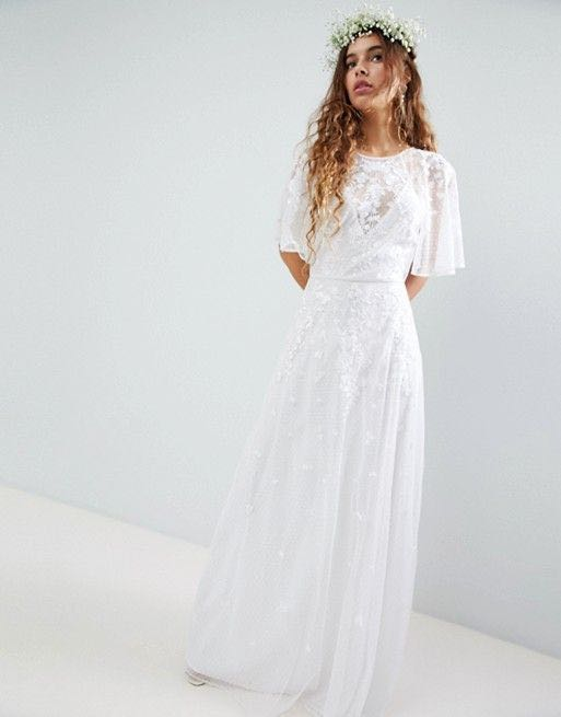 8571dd43d31c ASOS EDITION Embroidered Flutter Sleeve Maxi Wedding Dress, Women's ...