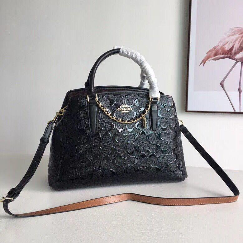 AUTHENTIC COACH SMALL MARGOT CARRYALL IN SIGNATURE DEBOSSED  PATERN LEATHER  ( F55451 )