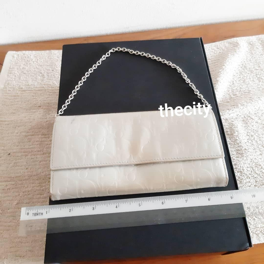 AUTHENTIC DIOR WALLET ON CHAIN (WOC) - DIOR MONOGRAM LOGO DESIGN- PATENT LEATHER - CLEAN POCKETS - (DIOR WOC'S NOW RETAIL AROUND RM 5000+) - RM 290 ONLY
