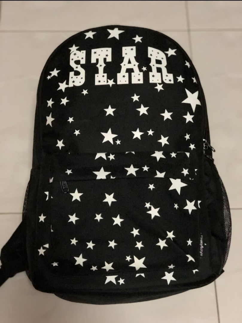9bd8323dae7 Black Canvas Backpack Luminous Glow in Dark Stary Stary Star ...
