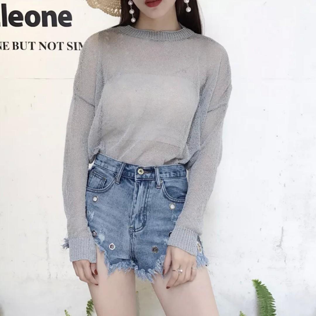 blue sheer outerwear top