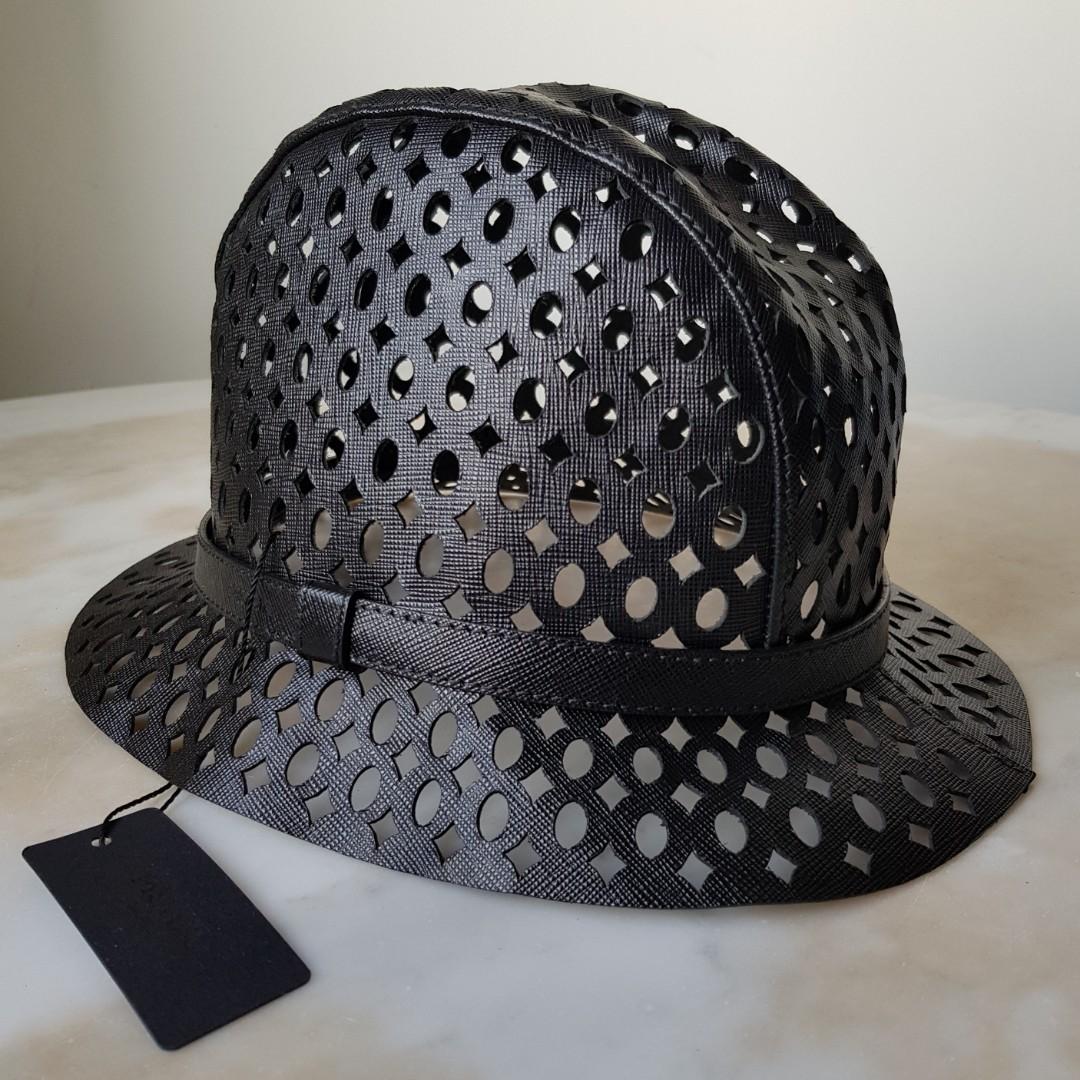 BN PRADA Black Saffiano Leather Lazer Cut Fedora Bucket Hat L Large ... 4fb306d8c4e