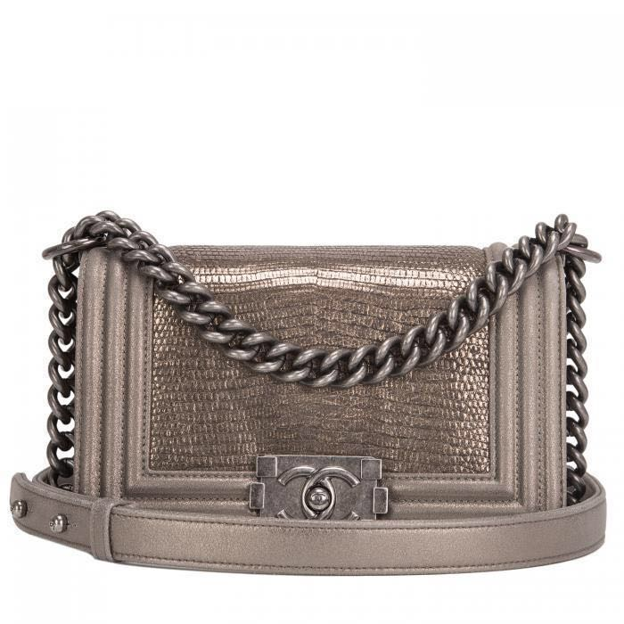 chanel boy bag (small) in antique gold with lizard skin, women's