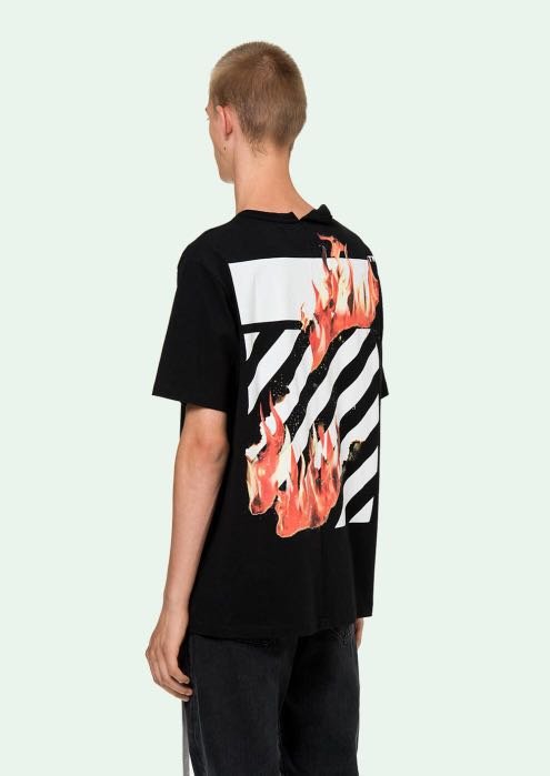 8fe22c5a CLEARANCE Off White 18SS Fire Spliced Tee, Men's Fashion, Clothes, Tops on  Carousell