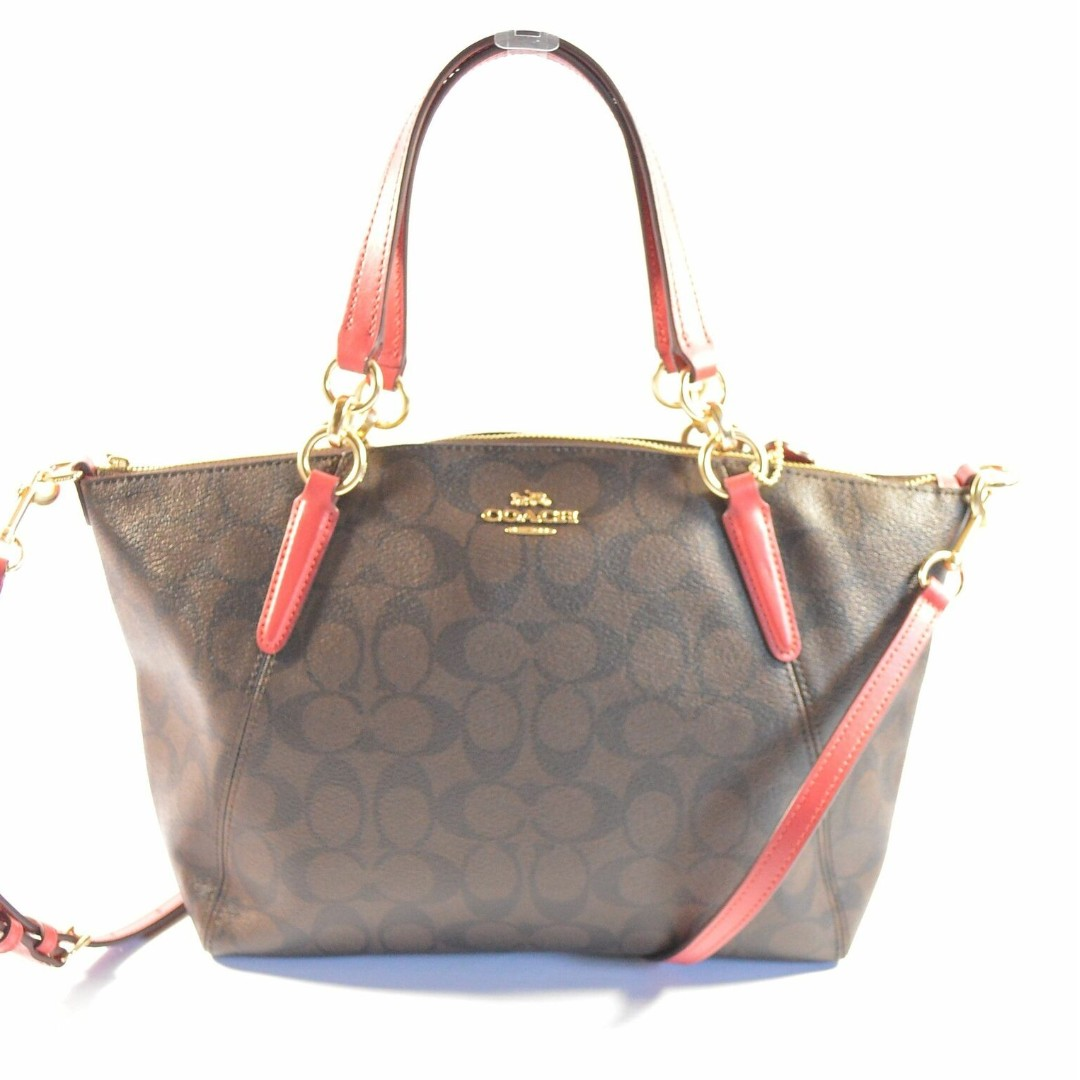 ac117235892f Coach Brown True Red Signature Leather Small Kelsey Satchel Bag ...