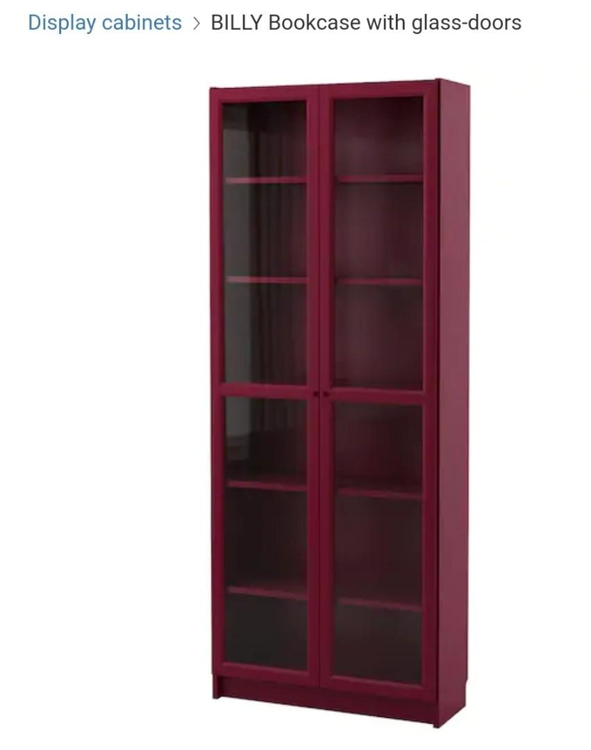 Dark Brown Ikea Billy Bookcase With Glass Doors Furniture