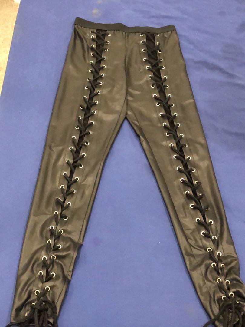 Doll skill black lace up pants price drop $15.00 new