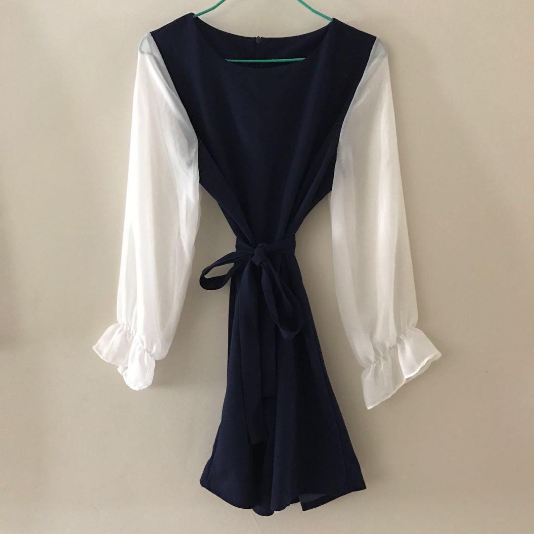 Korean chiffon blue and white dress with waist tie