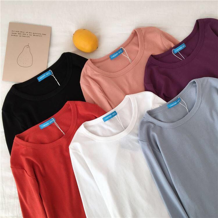 24a1a7bce85a69 Korean ulzzang slim fit long sleeves shirt
