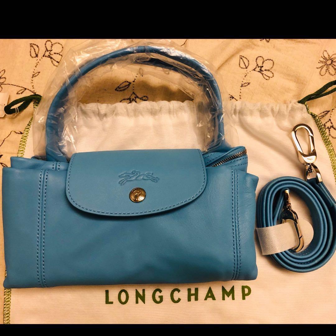 (全新現貨)longchamp小羊皮摺疊包-中型天空藍❤️
