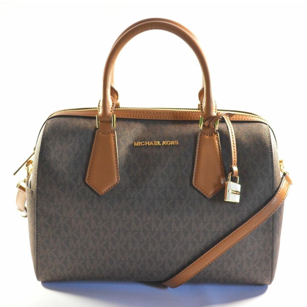 9678dc4ce7b9 Michael Kors MK Hayes Brown/Acorn Large Duffle Satchel Bag on Carousell