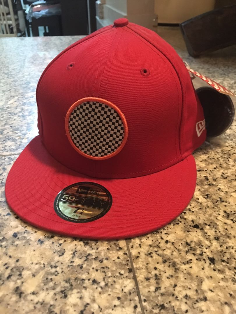8e54f64571a New Era Fitted Cap Hat Red Stamped