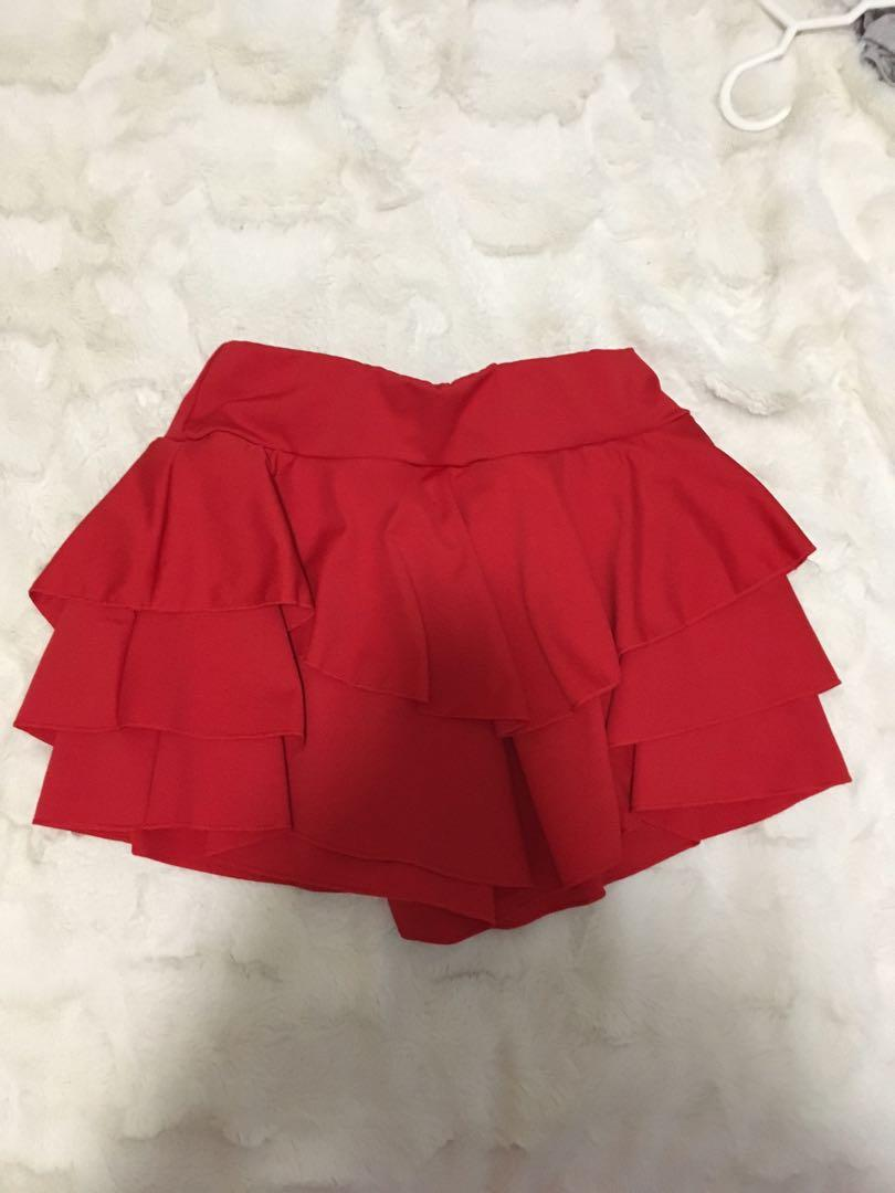 Red skort size 8-10 also selling separately red ribbed long sleeve off the shoulder top
