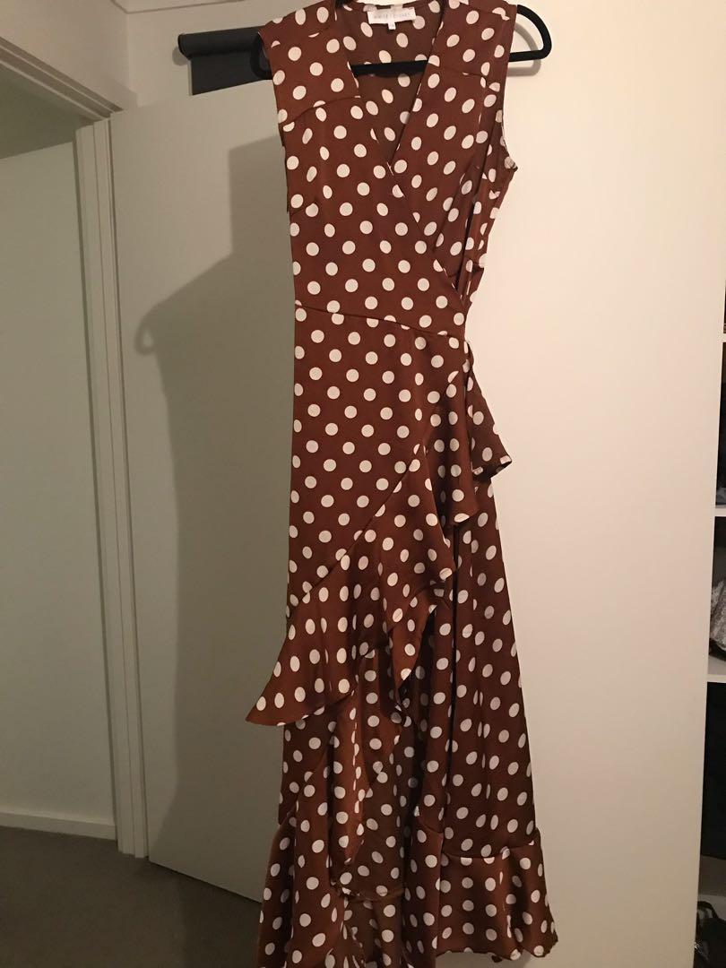 San Diego Maxi Wrap Dress - Polka Dot - Ally Fashion