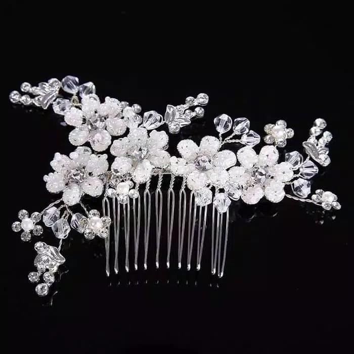 Sirkam Hiasan Aksesoris Rambut Pesta Bunga Kristal Headpiece Hairpiece