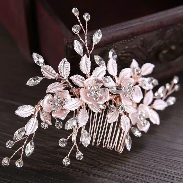 Sirkam Hiasan Rose Gold Aksesoris Rambut Pesta Bunga Kristal Headpiece Hairpiece