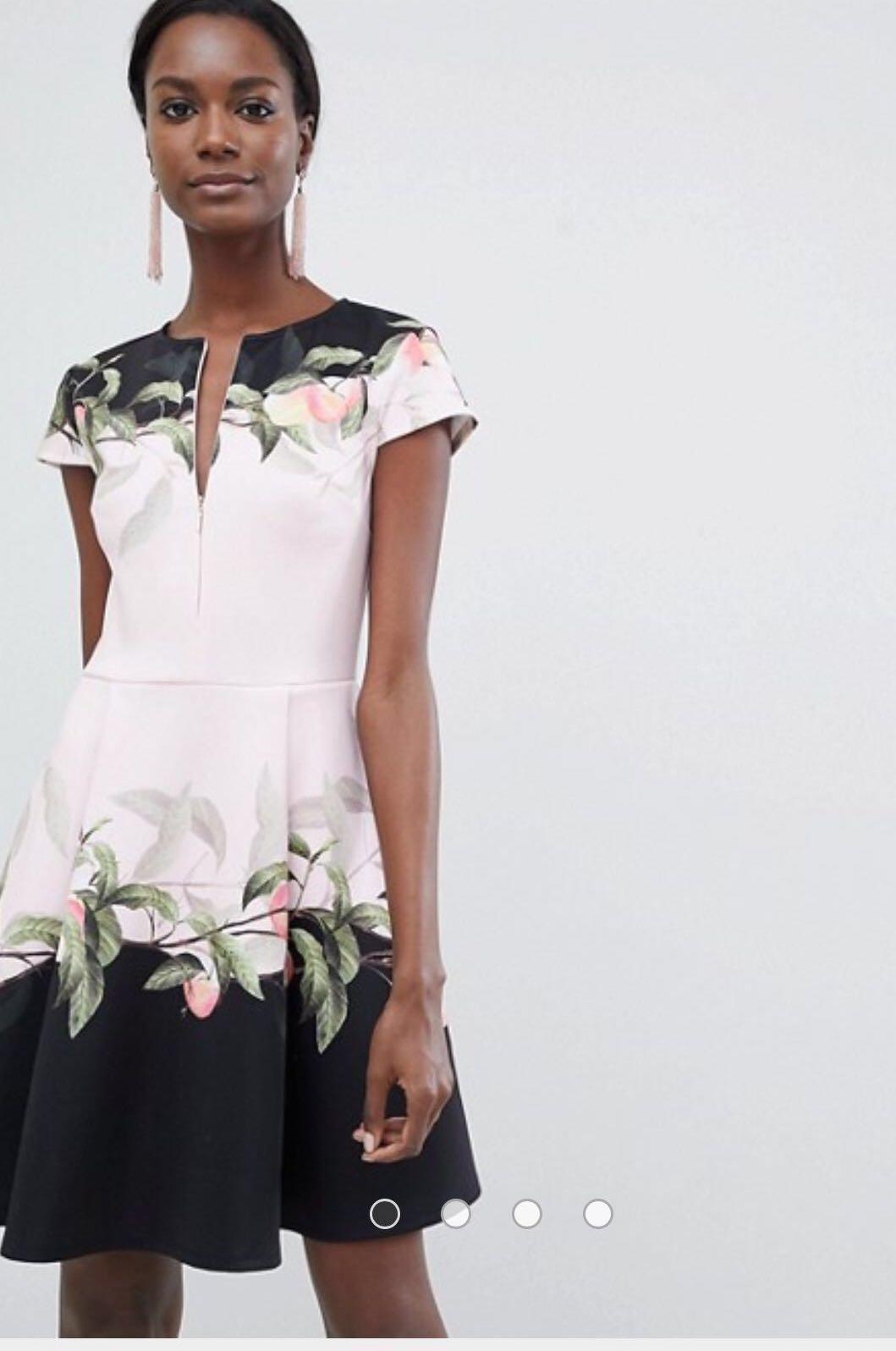 Ted Baker Skater Dress in Pink Peach Blossom Print