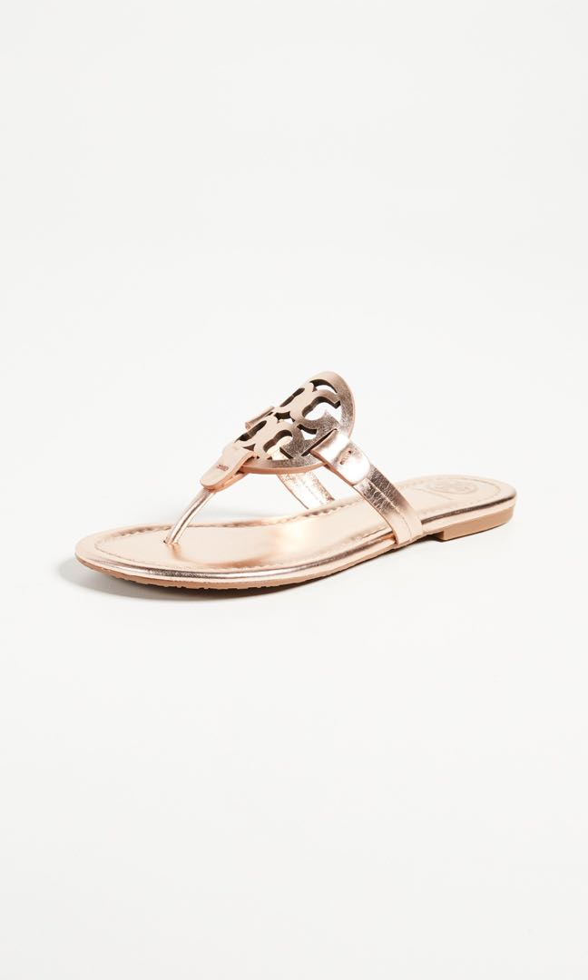 e39f2f244ab3 Tory Burch Rose Gold Large Logo Sandals
