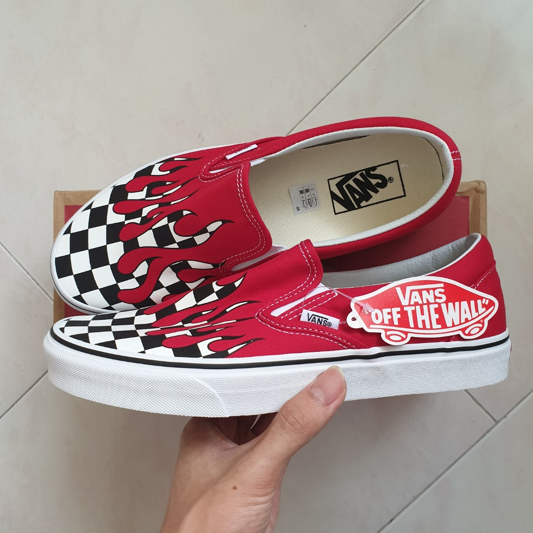 US9 Vans Checker Flame Sneakers (Red Color) 9844a3c4e