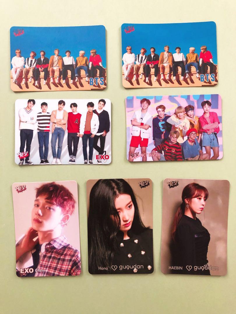 Yes card (BTS, EXO, Gu9udan, Block B)