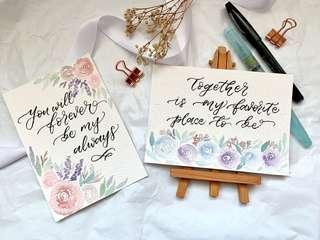 🚚 Floral calligraphy valentine's day cards