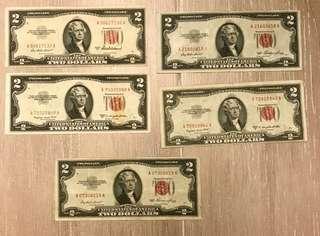 激罕-1953紅印AA字軌美金$ 2二元紙幣共5張
