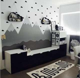 🚚 Wall Decal Nordic Grey clouds Kids Room