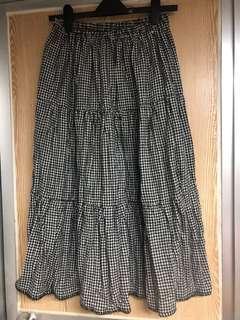 Initial 千鳥格 羊毛 半身裙 全身 彈性腰圍