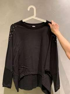 Crop black studded pullover / long sleeve