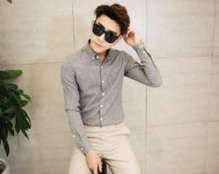 Grey Stripes Shirt (Slim fit)