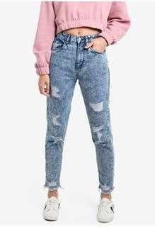 factorie 90s mom jeans in destroyed acid wash