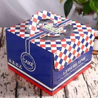 6寸 藍色格子 手提蛋糕盒 蛋糕包裝盒 禮物盒 烘培包裝