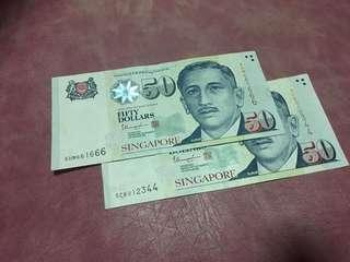 $50 nice number currency