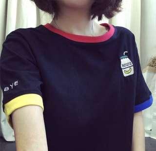 Banana milk embroidery ulzzang shirt (PO)
